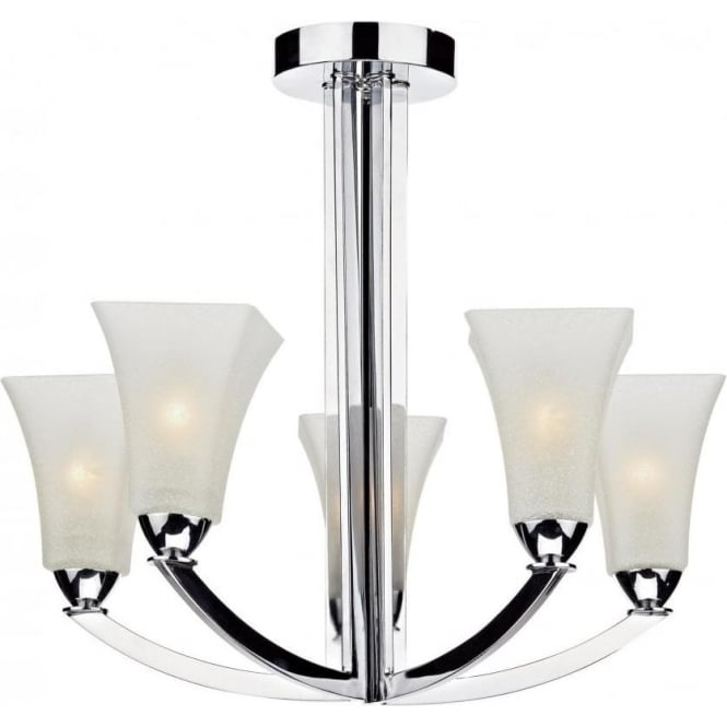 Dar ARL0550 Arlington 5 Light Ceiling Light Polished Chrome