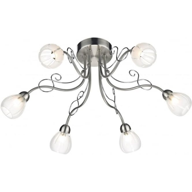 Dar FUS6446 Fusion 6 Light Ceiling Light Satin Chrome