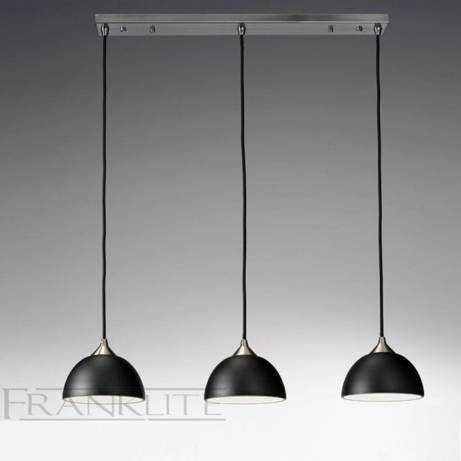 Franklite FL2290/3/930 Vetross 3 Light Ceiling Pendant Black/Gold