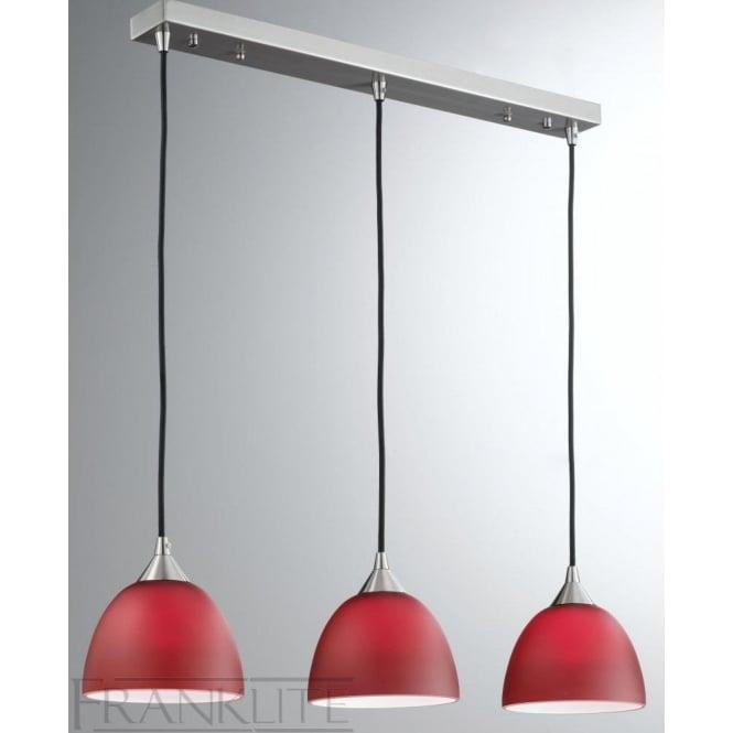 Franklite FL2290/3/933 Vetross 3 Light Ceiling Pendant Red/White