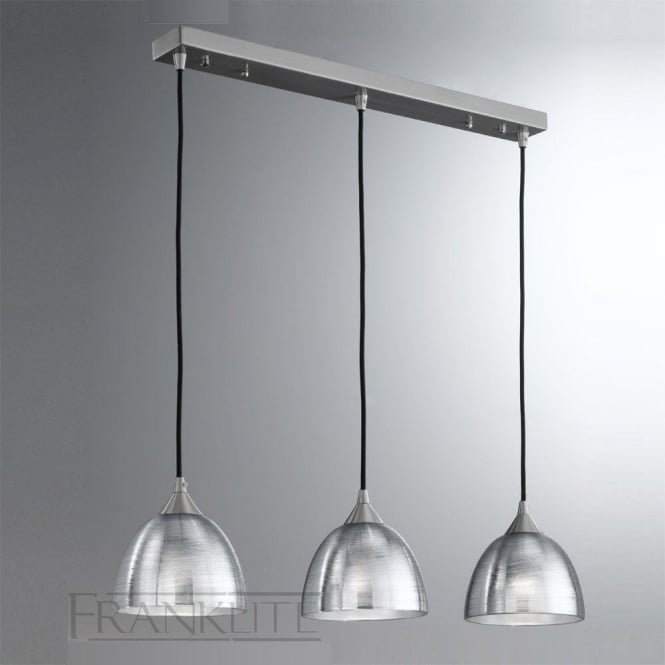 Franklite FL2290/3/927 Vetross 3 Light Ceiling Pendant Translucent Silver