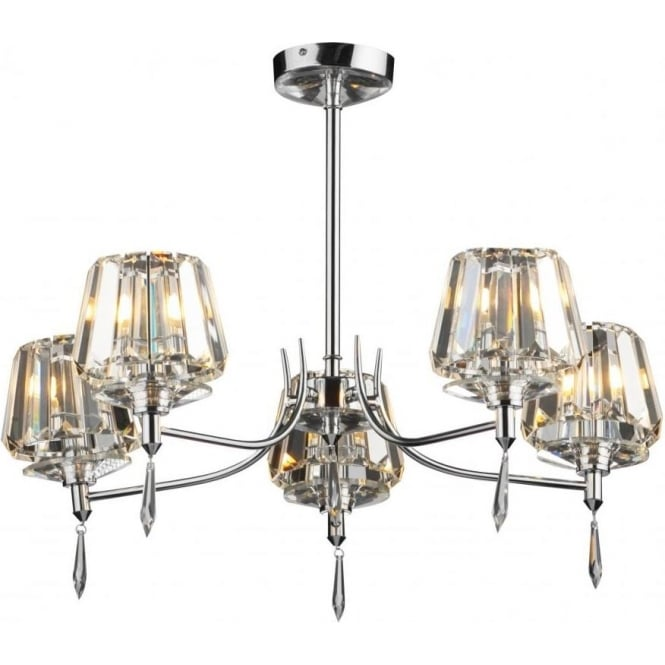 Dar SEL0550 Selina 5 light modern ceiling light semi flush polished chrome finish