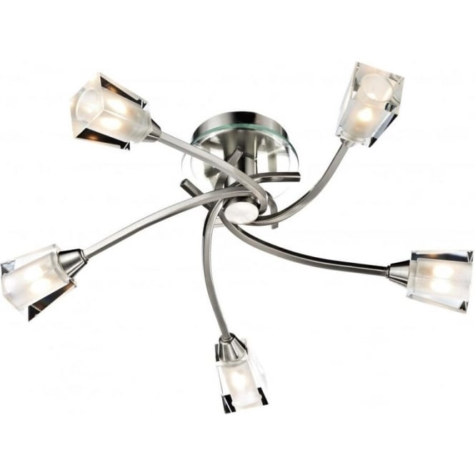 Dar AUS0546 Austin 5 Light Semi-Flush Ceiling Light Satin Chrome