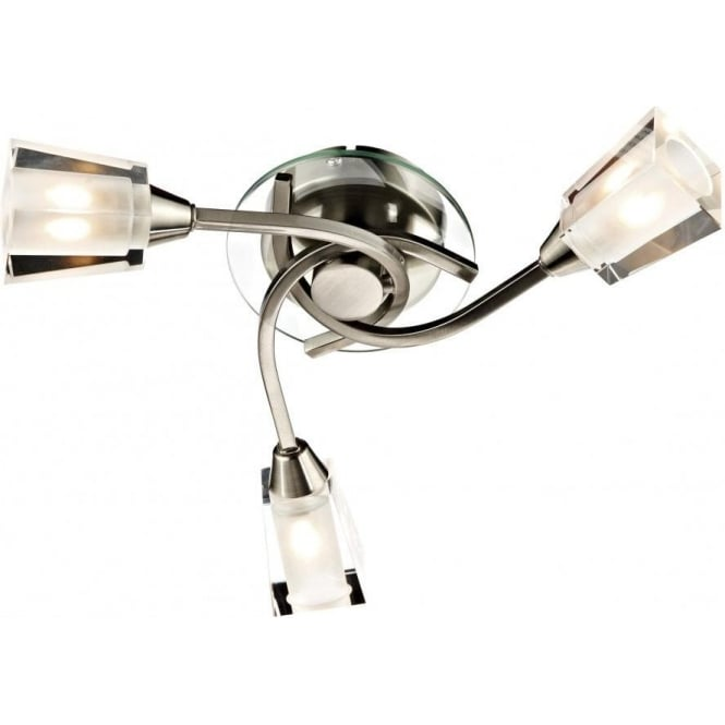 Dar AUS0346 Austin 3 Light Semi-Flush Ceiling Light Satin Chrome