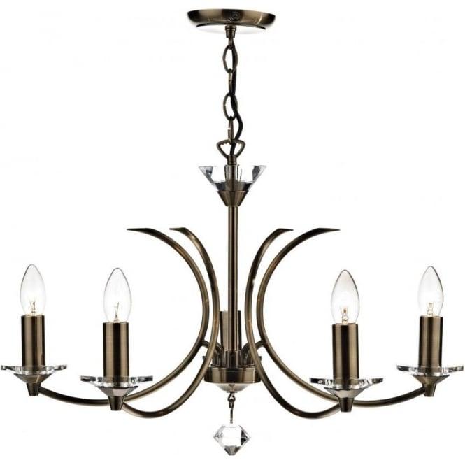 Dar MED0575 Medusa 5 Light Ceiling Light Antique Brass