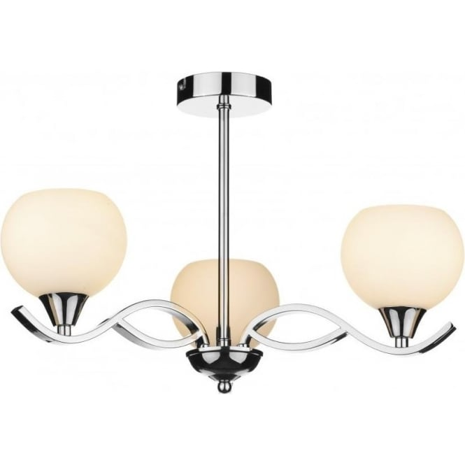 Dar ARU0350 Aruba 3 Light Ceiling Light Polished Chrome