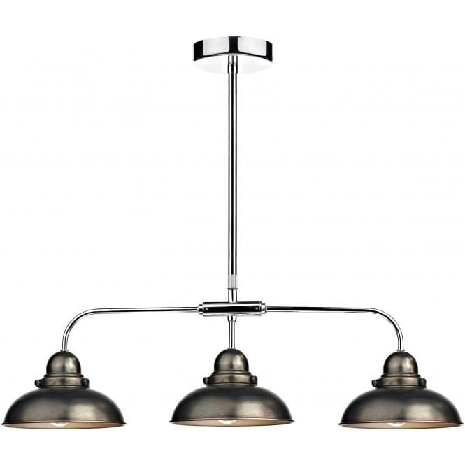 Dar DYN0361 Dynamo 3 Light Ceiling Light Antique Chrome