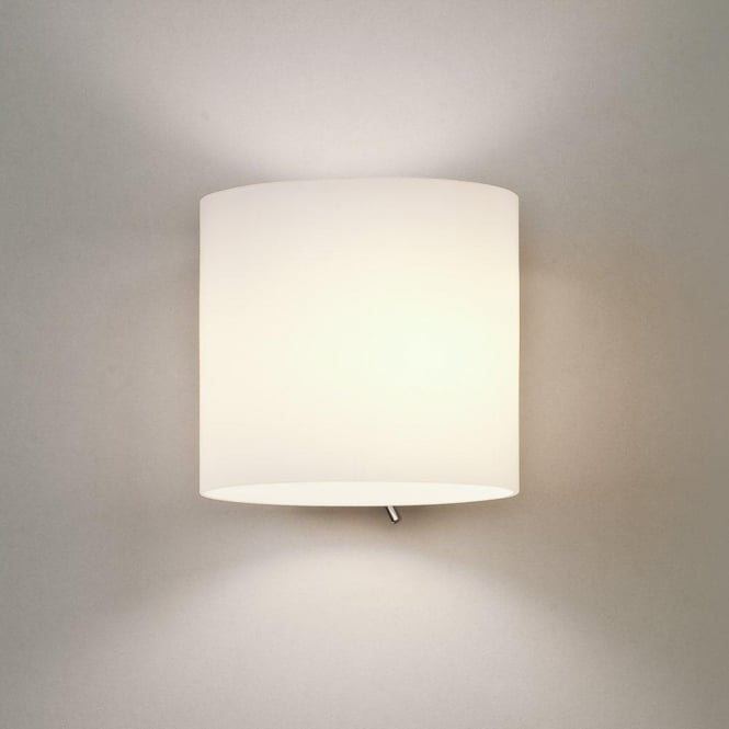 Astro 0411 Luga 1 Light Switched Wall Light Painted Silver White Glass