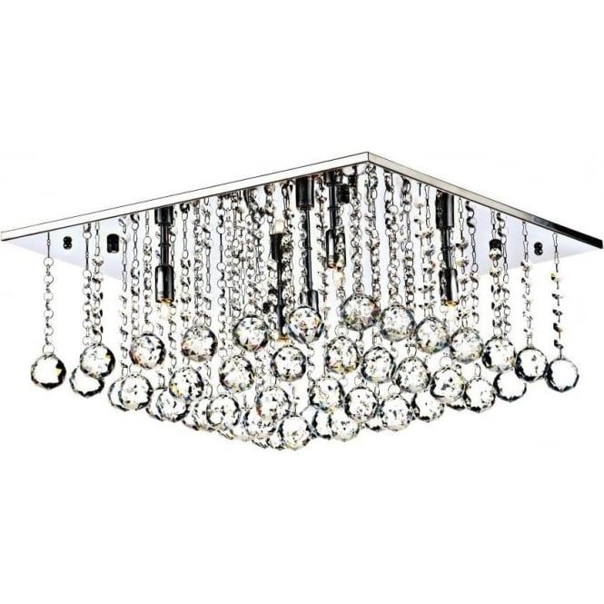 Dar ABA5050 Abacus 5 Light Crystal Flush Ceiling Light Polished Chrome