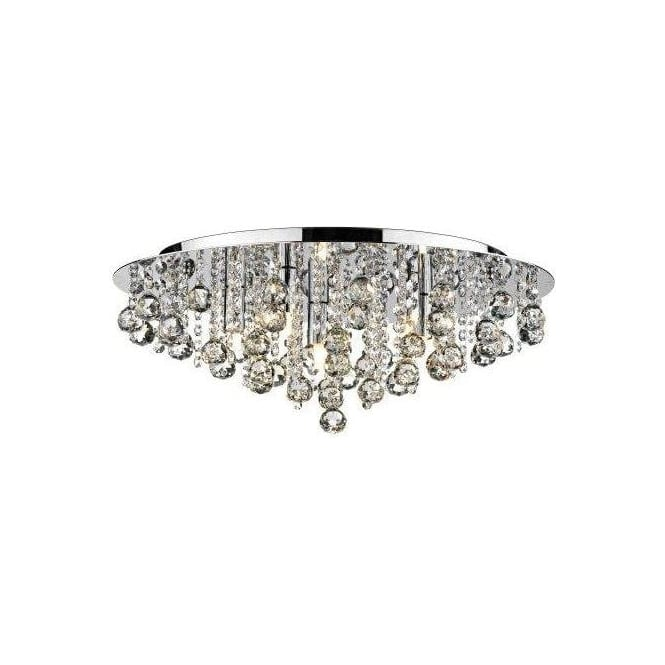 Dar PLU0850 Pluto 5 Light Crystal Flush Ceiling Light Polished Chrome