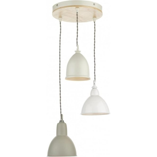 Dar BLY0343 Blyton 3 Light Ceiling Pendant Wooden/Cream