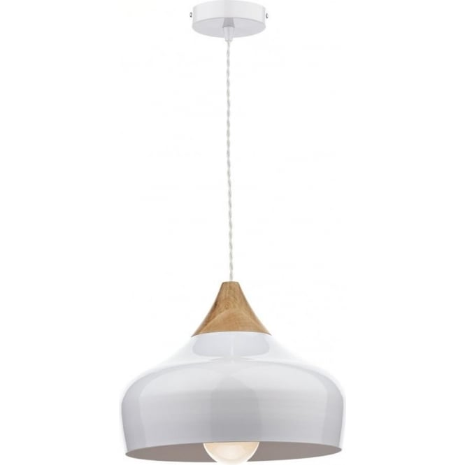 Dar GAU0102 Gaucho 1 Light Ceiling Pendant Gloss White (Small)