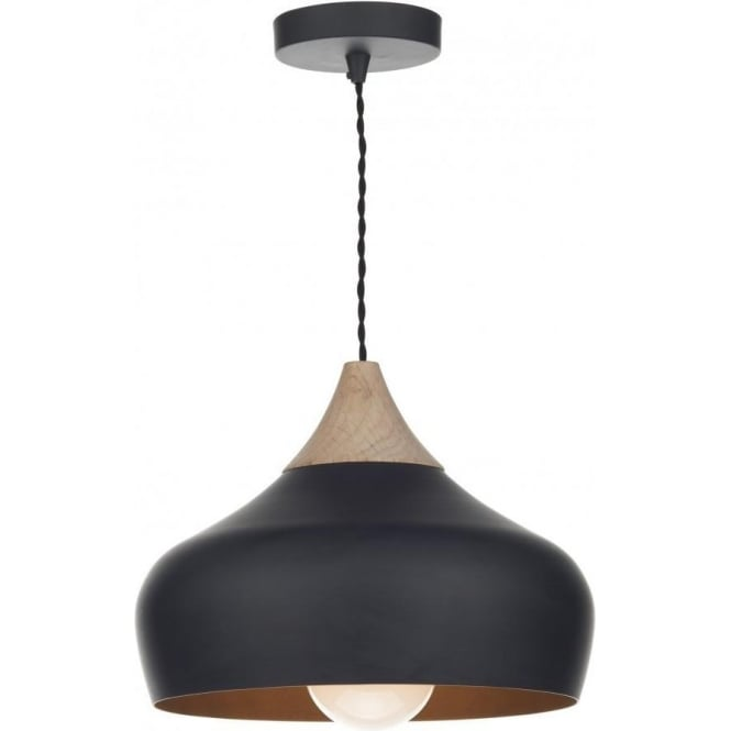 Dar GAU0122 Gaucho 1 Light Ceiling Pendant Matt Black (Small)