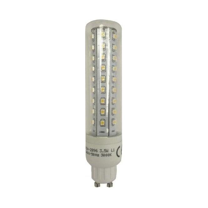 TP24 2896 Mains L1 GU10 3.5W Tubular Clear LED Lamp Warm White 3000K