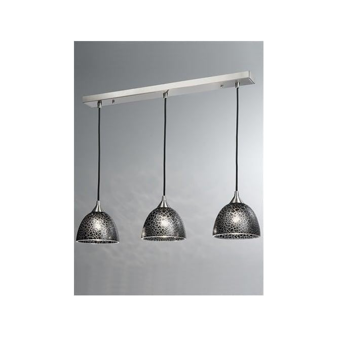 Franklite FL2290/3/952 Vetross 3 Light Ceiling Pendant Black Crackle