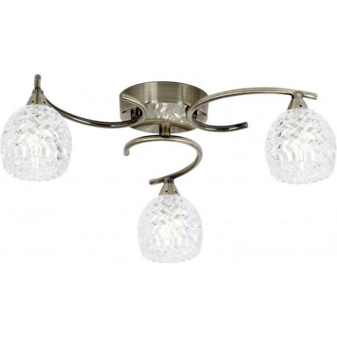 Endon Endon BOYER-3AB Boyer 3 Light Ceiling Light Antique Brass