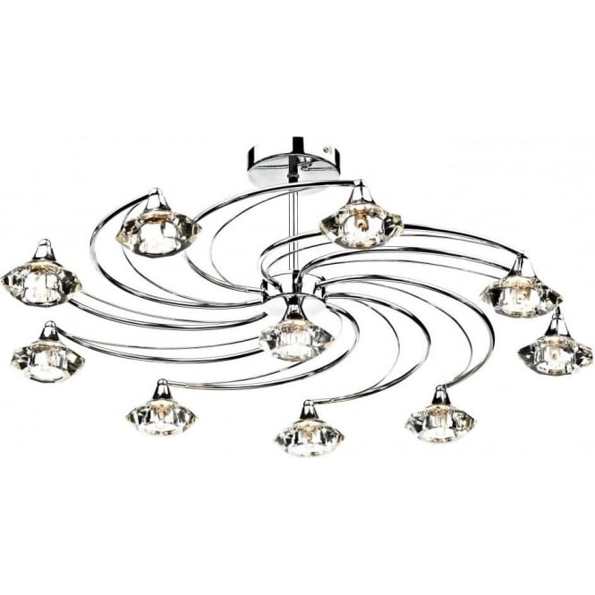 Dar LUT2350 Luther 10 Light Crystal Ceiling Light Polished Chrome