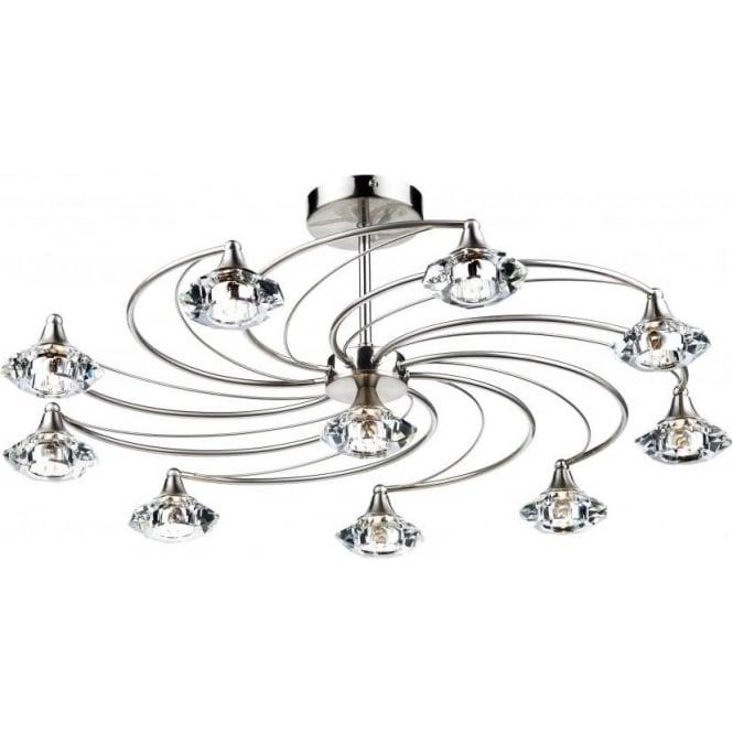 Dar LUT2346 Luther 10 Light Crystal Ceiling Light Satin Chrome