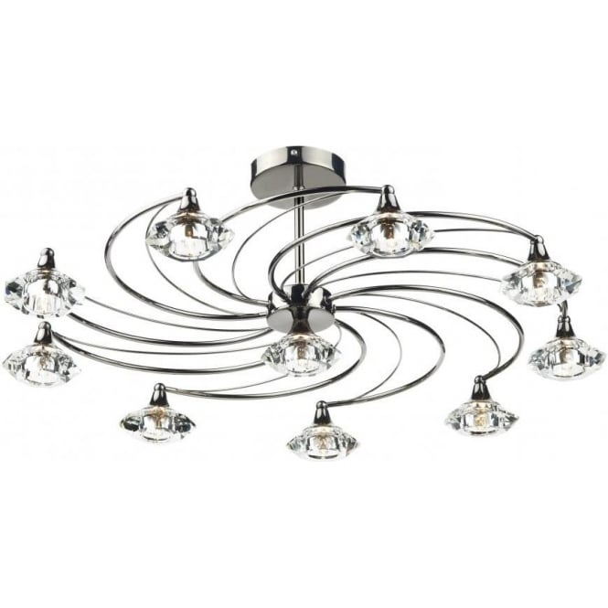 Dar LUT2367 Luther 10 Light Crystal Ceiling Light Black Chrome
