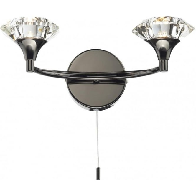 Dar LUT0967 Luther 2 Light Crystal Wall Light Black Chrome Switched
