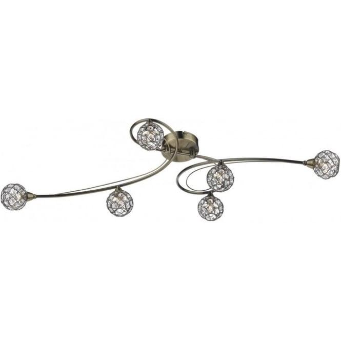 Dar CIR6475 Circa 6 Light Semi-Flush Ceiling Light Antique Brass