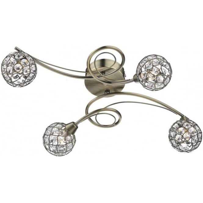 Dar CIR0475 Circa 4 Light Semi-Flush Ceiling Light Antique Brass