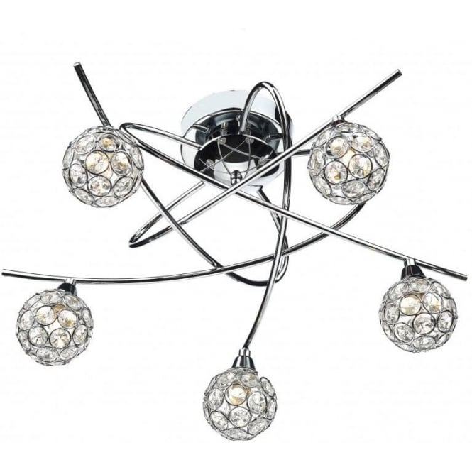 Dar NUC5450 Nucleus 5 Light Semi-Flush Light Polished Chrome