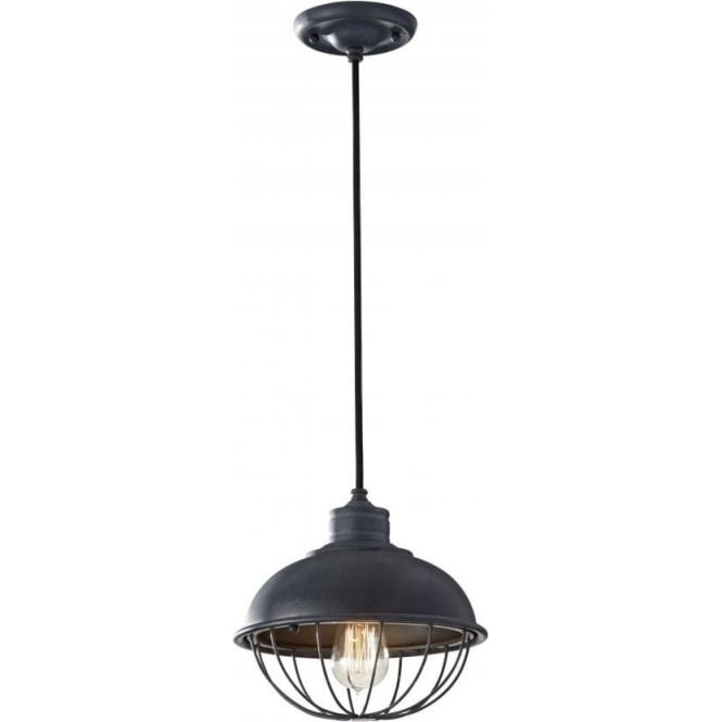 Elstead Lighting Feiss FE/URBANRWL/P/B Urban Renewal 1 Light Ceiling Pendant Antique Forged Iron