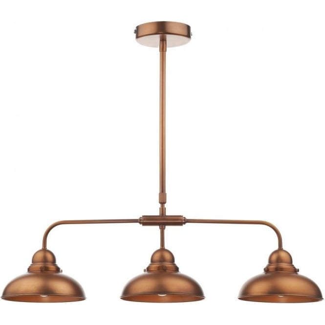 Dar DYN0364 Dynamo 3 Light Ceiling Light Antique Copper