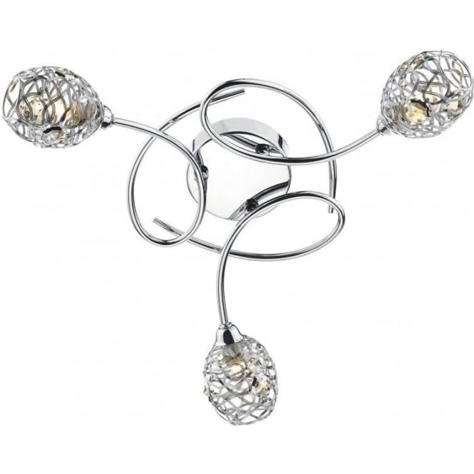 Dar NUM5350 Numero 3 Light Semi-Flush Ceiling Light Polished Chrome