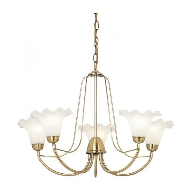 Endon KENNEDY-5AB Kennedy 5 Light Ceiling Light Antique Brass