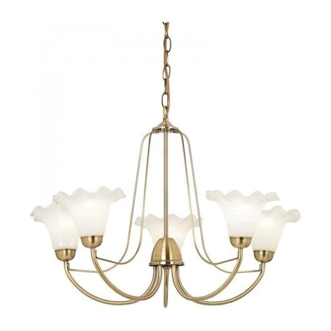 Endon KENNEDY-5AB Kennedy 5 Light Ceiling Light Antique Brass