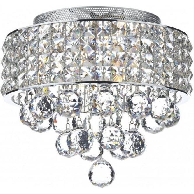 Dar MAT5350 Matrix 3 Light Semi-Flush Crystal Ceiling Light Polished Chrome