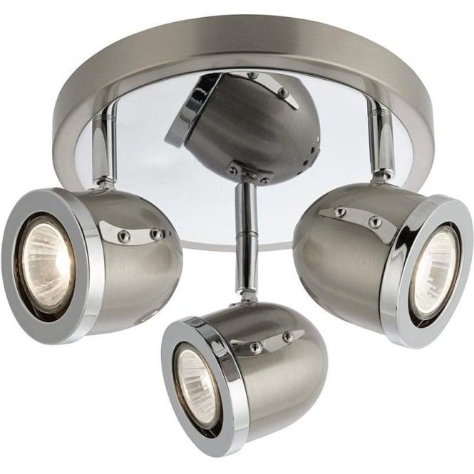 Searchlight 4923SS Palmer 3 Light Spotlight Satin Silver