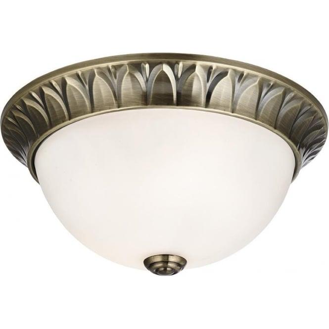 Searchlight 4148-28AB 2 Light Flush Ceiling Light Antique Brass