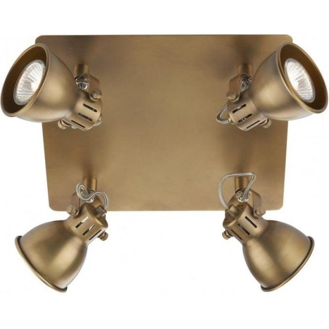 Dar IDA8575 Idaho 4 Light Ceiling Spotlight Natural Brass
