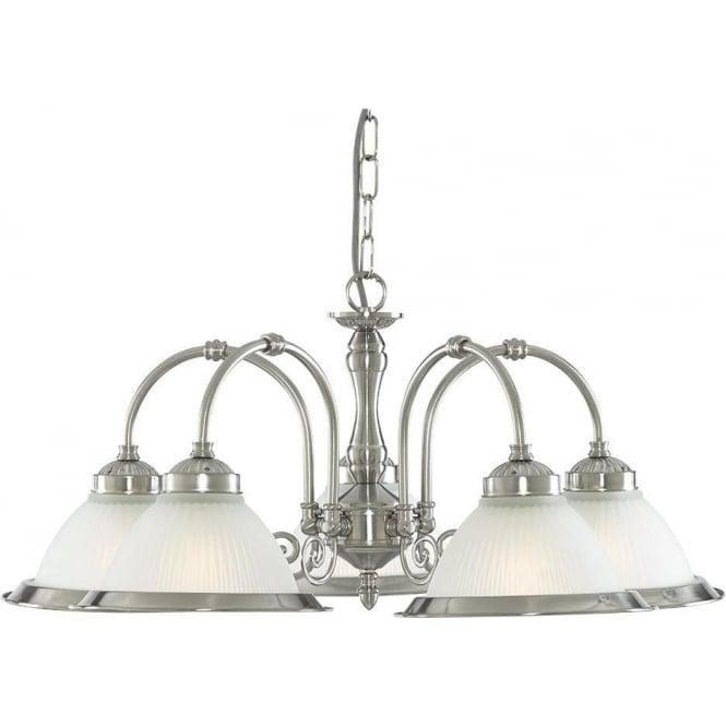 Searchlight 1045-5 American Diner 5 Light Ceiling Light Satin Silver