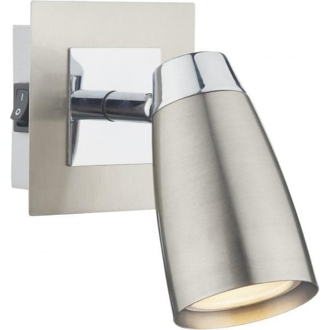 Dar LOF0746 Loft 1 Light Switched Wall Spotlight Satin Chrome