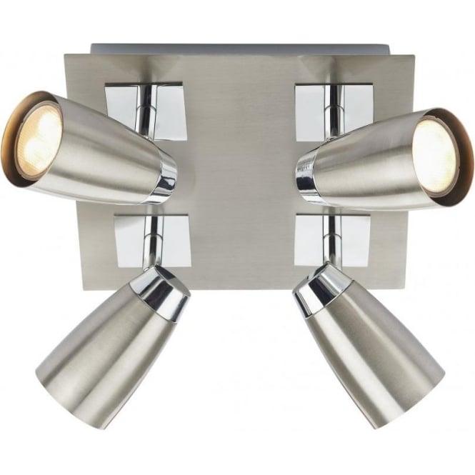 Dar LOF8546 Loft 4 Light Ceiling Spotlight Satin Chrome