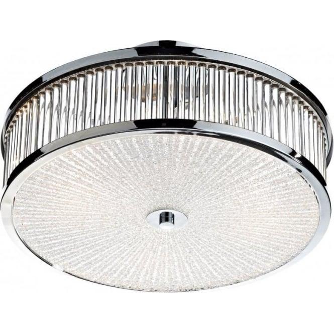 Dar ARA5250 Aramis 3 Light Flush Ceiling Light Polished Chrome