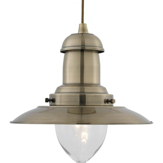 Searchlight 4301AB Fisherman 1 Light Ceiling Pendant Antique Brass