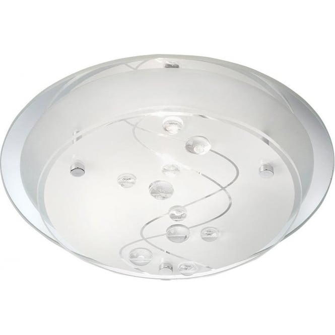Searchlight 3020-25CC 1 Light Flush Ceiling Light Glass