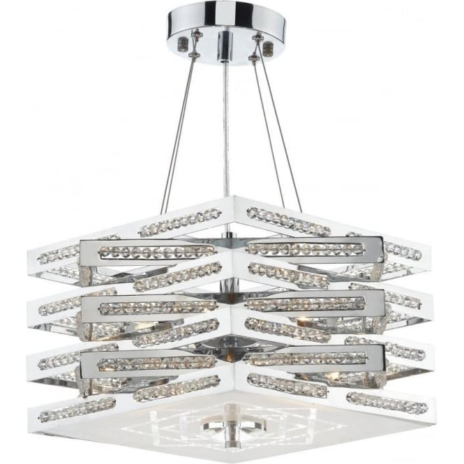 Dar CUB0550 Cube 5 Light Crystal Ceiling Light Polished Chrome