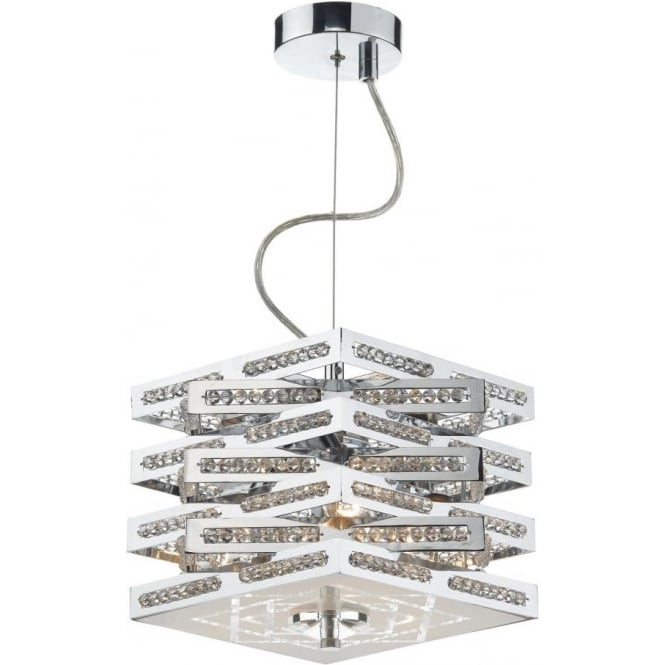 Dar CUB0350 Cube 3 Light Crystal Ceiling Light Polished Chrome