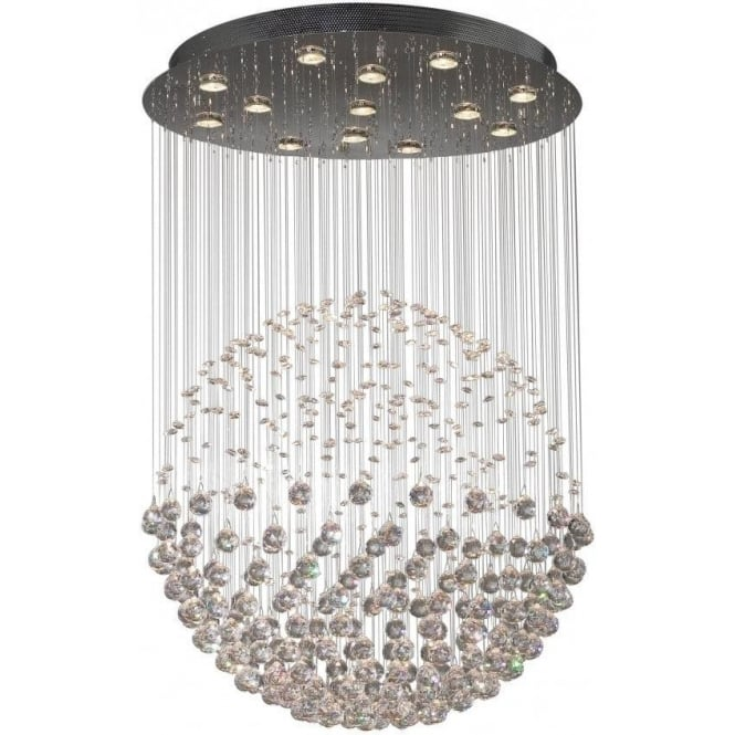 Dar EXC1750 Excelsior 13 light modern ceiling light pendant crystal and polished chrome finish