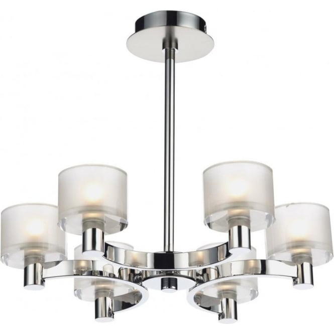 Dar ETO0650 Eton 6 Light Semi-Flush Ceiling Light Chrome