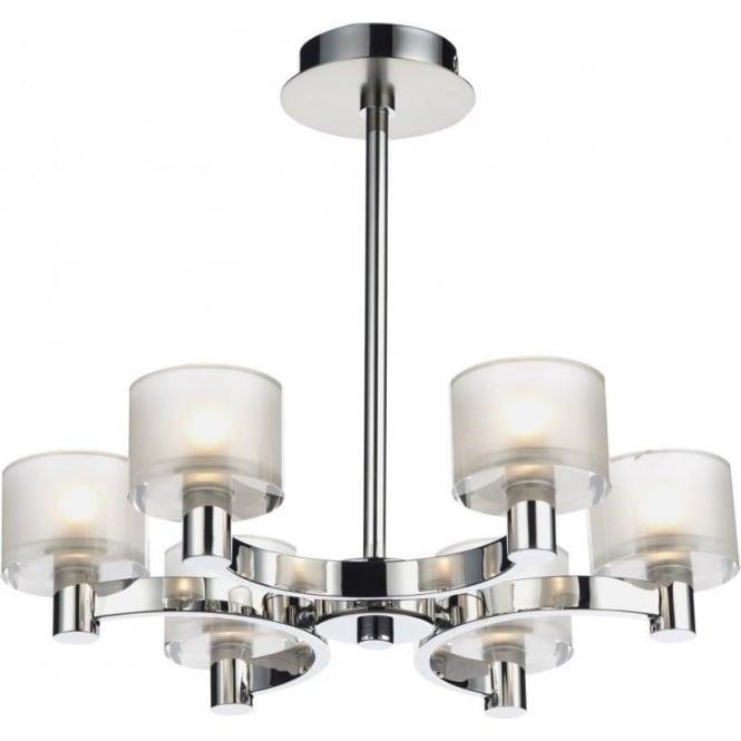 Dar ETO0650 Eton 6 Light Semi-Flush Ceiling Light Chrome