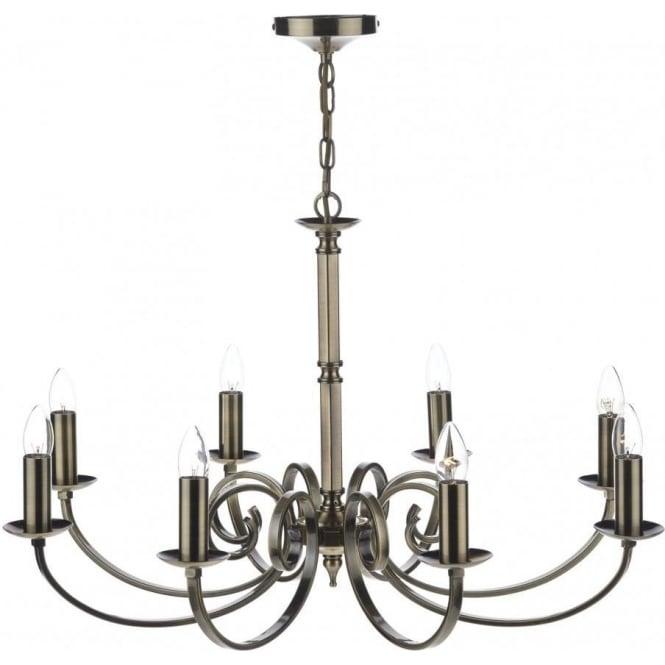 Dar MUR0875 Murray 8 Light Ceiling Light Antique Brass