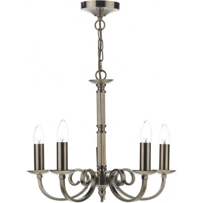 Dar MUR0575 Murray 5 Light Ceiling Light Antique Brass