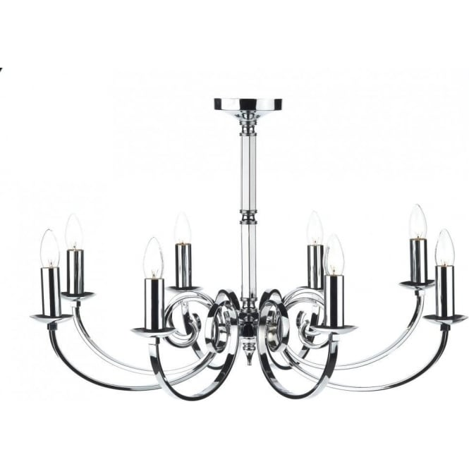 Dar MUR0850 Murray 8 Light Ceiling Light Polished Chrome